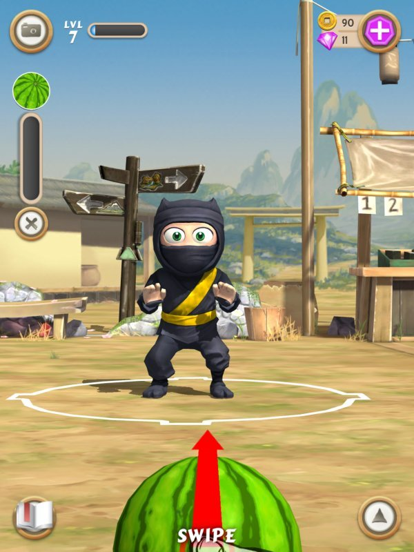 clumsy ninja watermelon guide touch tap play