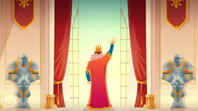 king waving to his people