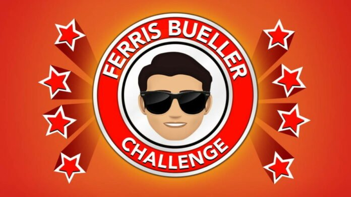 ferris bueller's face in a red circle