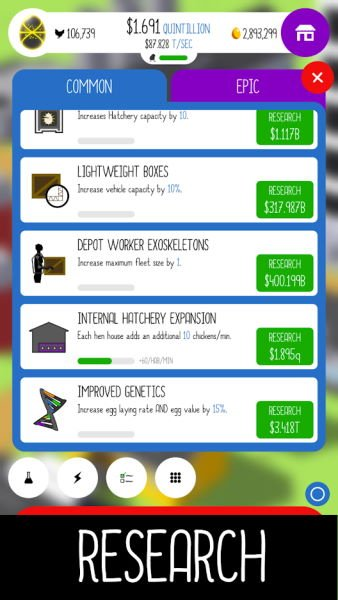 list of research upgrades for chicken farm