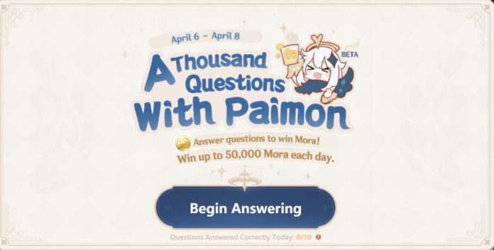 Genshin Impact A thousand questions with Paimon answers