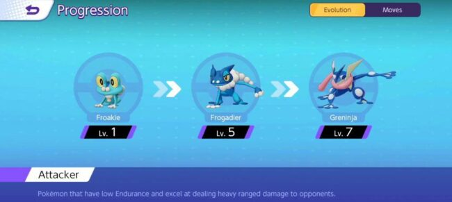 Greninja Evolution in Pokemon Unite
