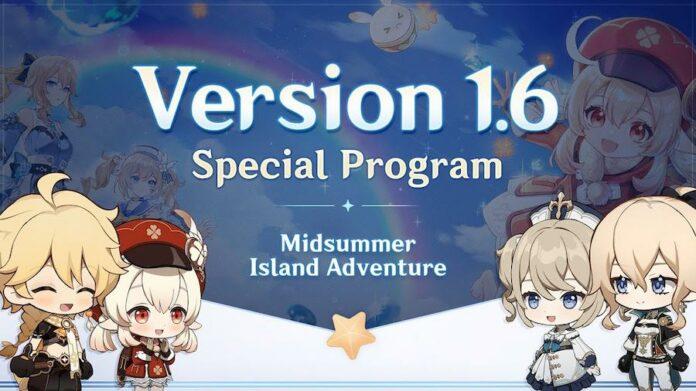 Genshin Impact 1.6 special program
