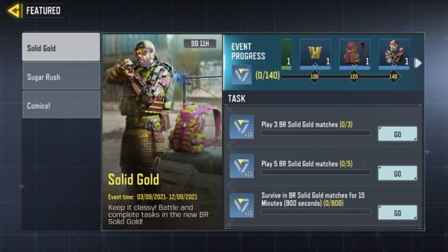 COD Mobile Solid Gold - Missions and rewards