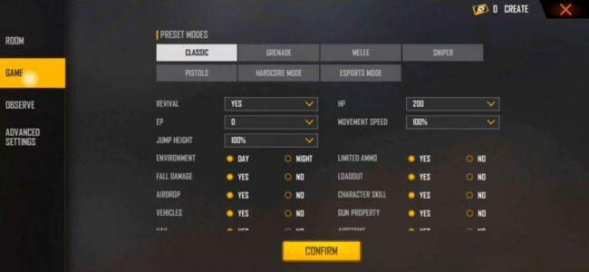 Free Fire new custom room settings