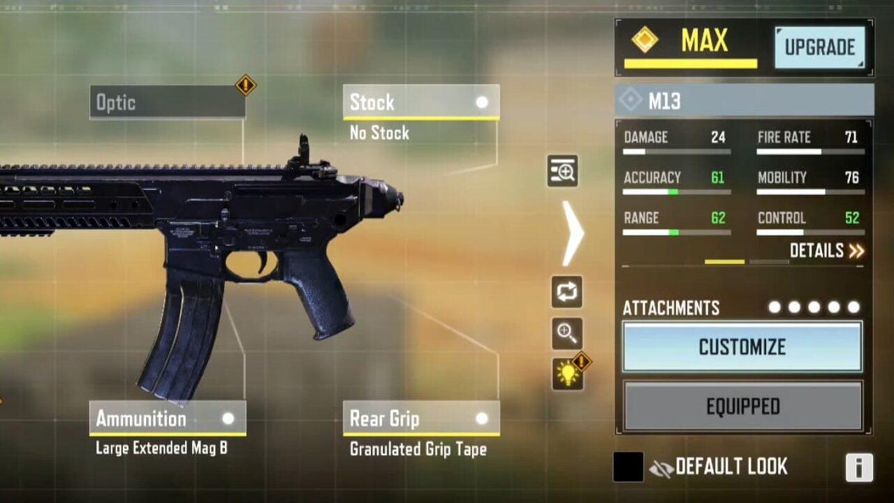 M13 assault rifle base stats