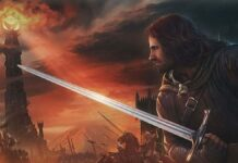 Man holdin a sword cinematic view