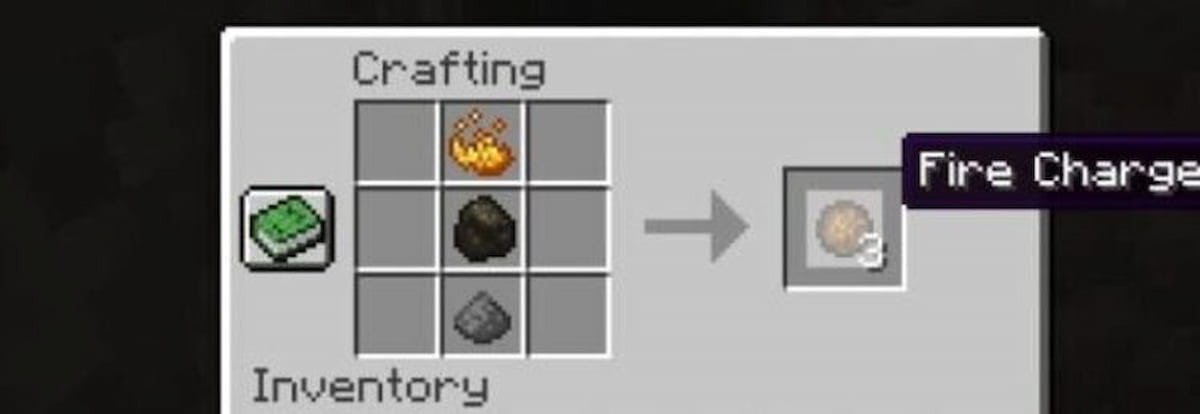 Fire charge in crafting table