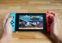 Hands holding Nintendo Switch