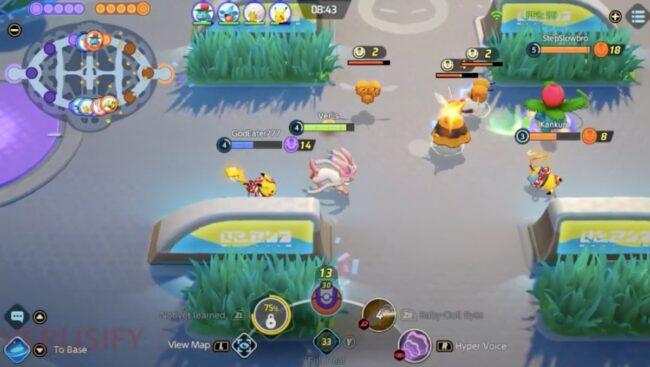 Sylveon fighting in a battle in Pokemon Unite
