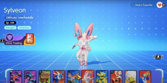 Sylveon on the selection screen in Pokemon Unite